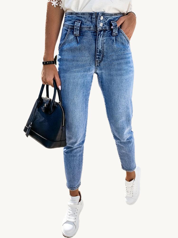 Denim casual de cintura alta elástica de color sólido Jeans para Mujer
