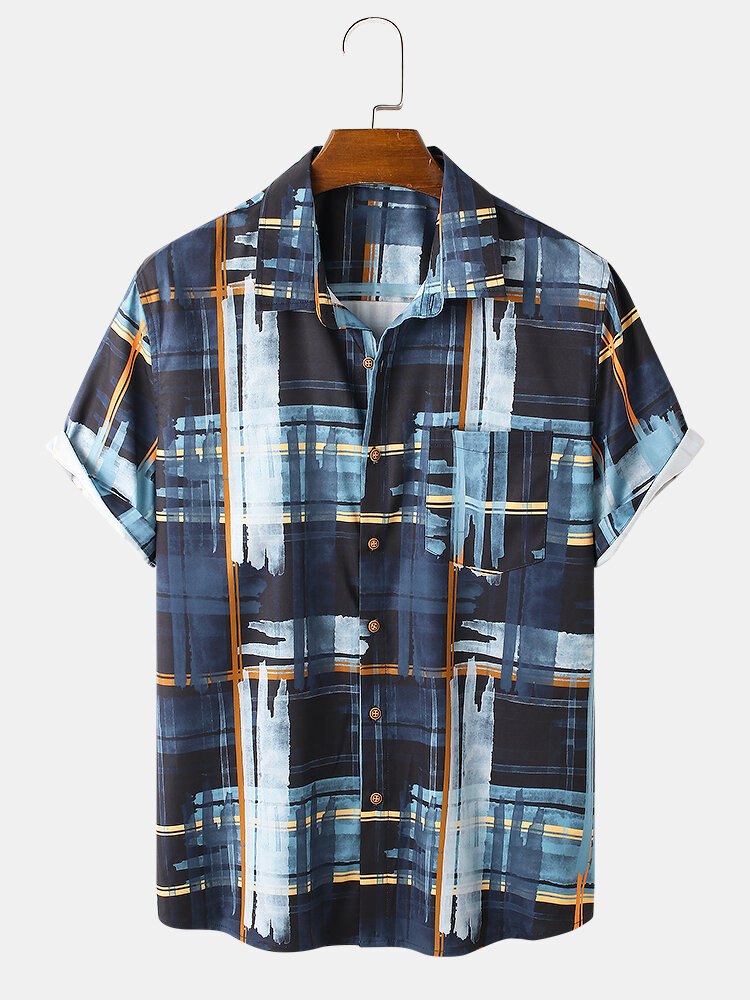 Mens Oil brush Print Button Up Street Short Sleeve Shirts With Pocket