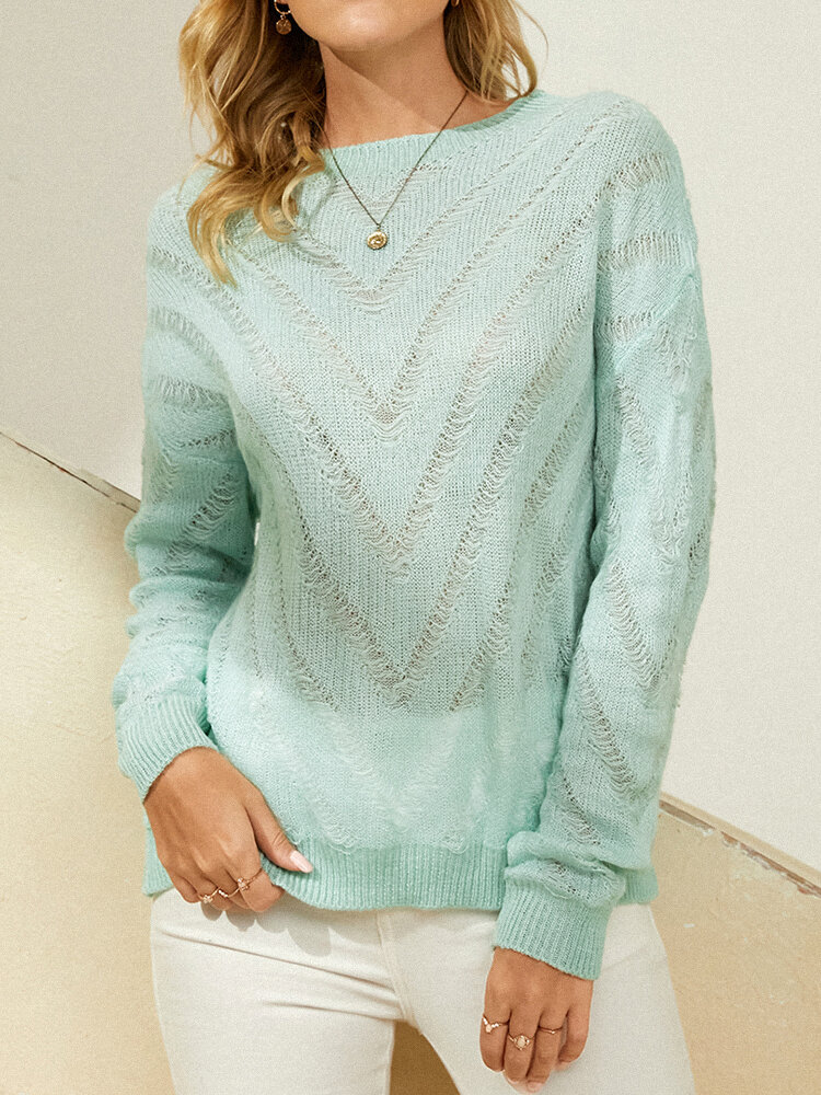 Hollow Knitted Pullover Long Sleeve O-neck Solid Sweater