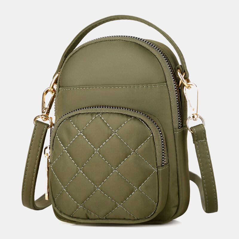 Women Solid Quilted Phone Bag Crossbody Bag