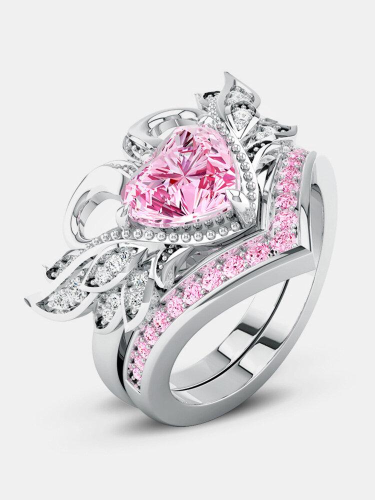 2 Pcs/set Sweet Two Swan Heart Zirconia Engagement Wedding Rings Unique Gift for Women Girls