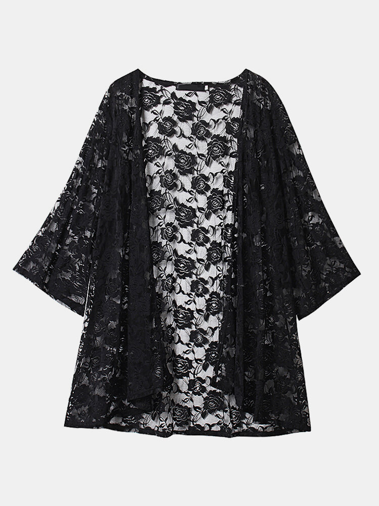 O-NEWE Sexy Lace Embroidery Long Sleeves Beach Cardigans