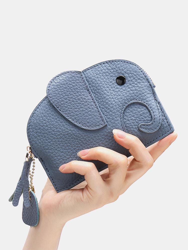 Women Genuine Leather Casual Cute Animal Elephant Pattern Keychain Coin Bag Storage Bag