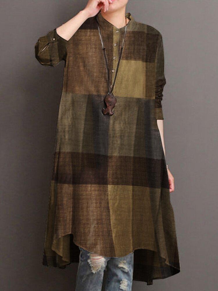 Plaid Print Stand Kragen Langarm Casual Shirt für Damen