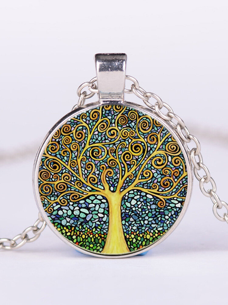 Vintage Geometric Round Tree Of Life Gemstone Pendant Necklace Metal Colorful Glass Printed Necklace