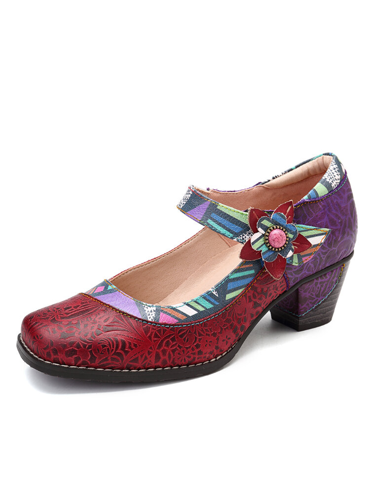 SOCOFY Colorful Floral Genuine Leather Splicing Geometric Pattern Stitching Hook Loop Pumps