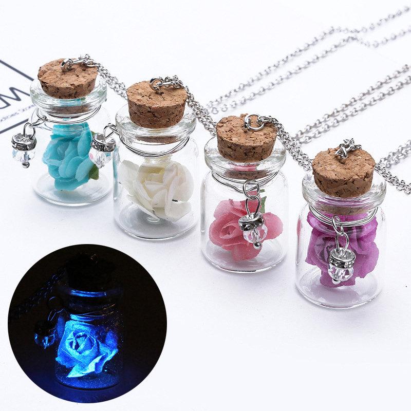 Fashion Glass Tiny Wishing Bottle Charm Necklaces Luminous Flower Long Necklaces for Women