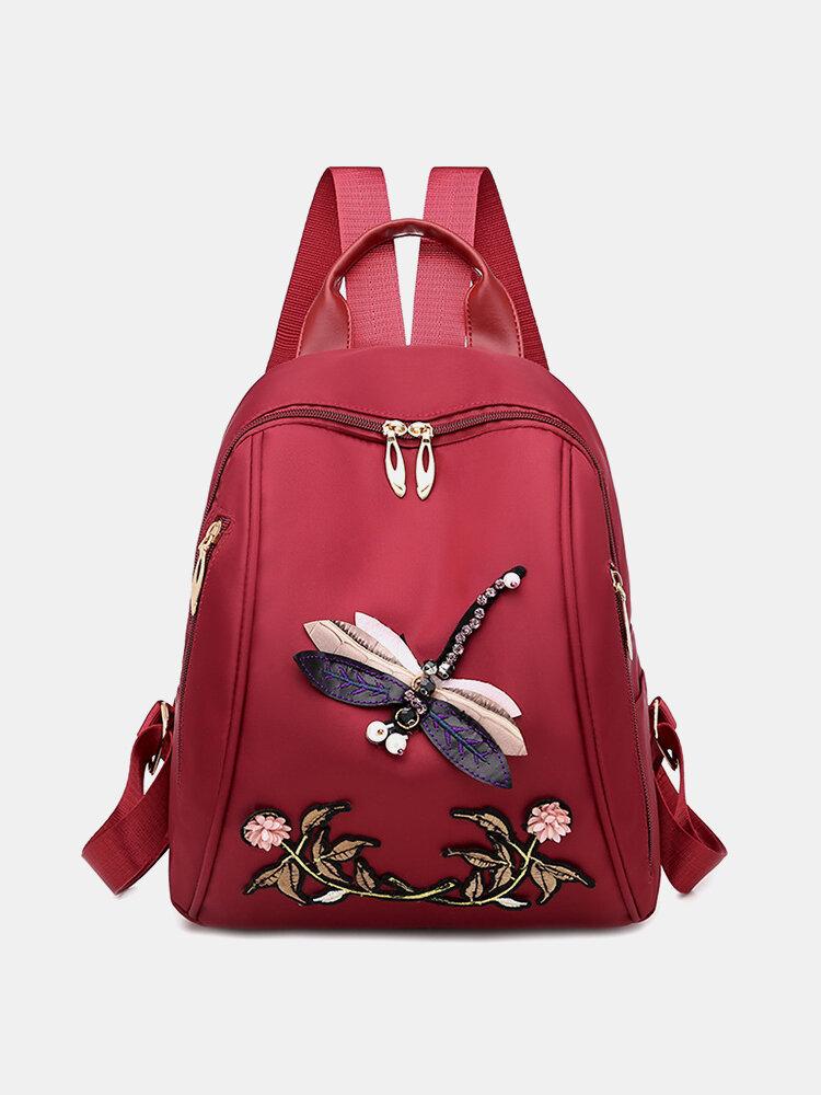 Mochila de calicó de gran capacidad bordada libélula de estilo chino para mujer