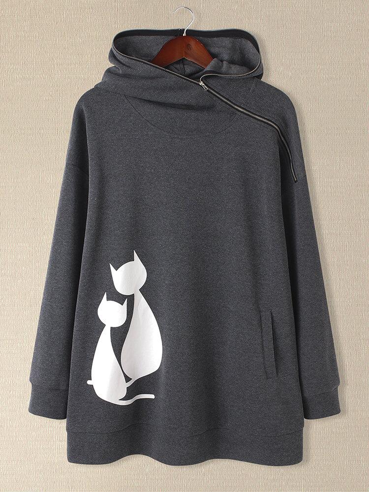 Cats Print Zipper Design Long Sleeve Casual Plus Size Hoodie