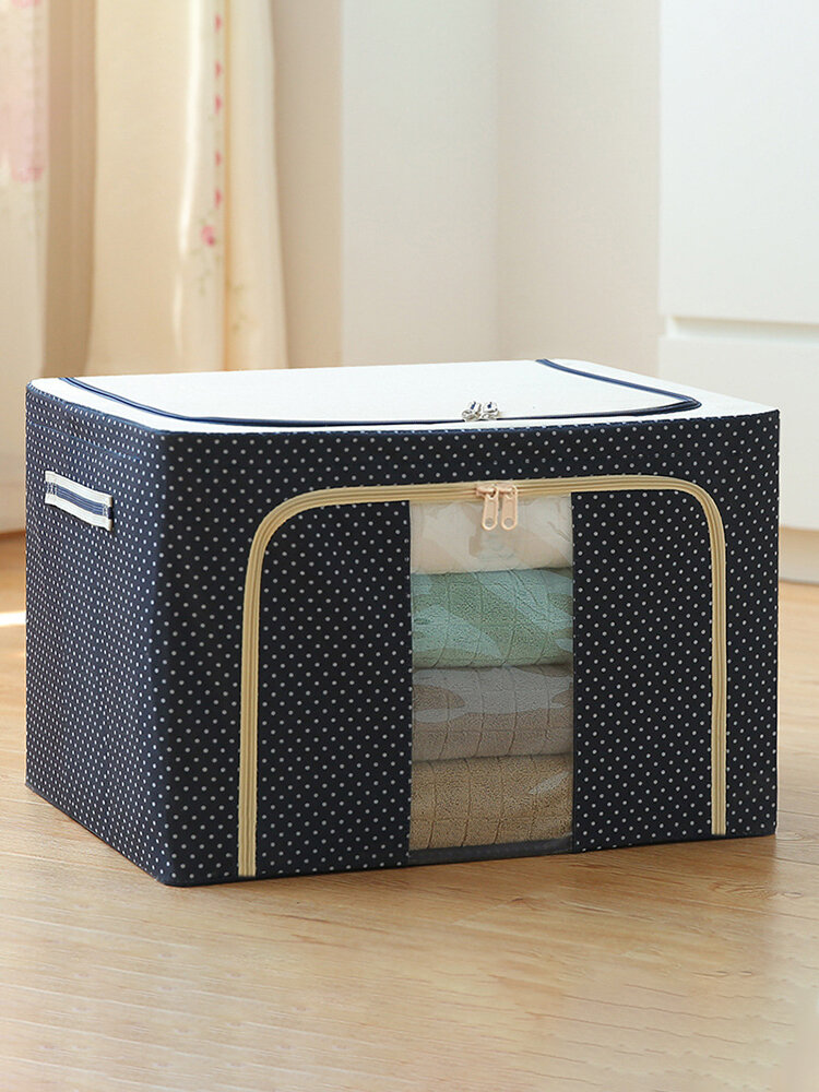 1PC 22/66/72/100L Clothes Quilts Storage Bag Oxford Cloth Steel Frame Foldable House Organizer Bag