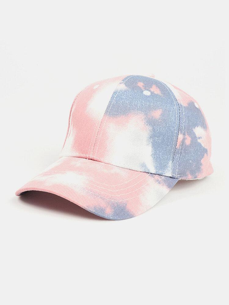 Unisex Tie-dye Cotton Multi-color Gradient Color Sunscreen Visor Sun Hat Baseball Hat