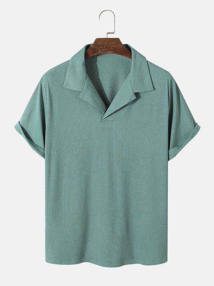 Mens Revere Collar Ribbed Basics Short Sleeve Solid Color Golf Shirt