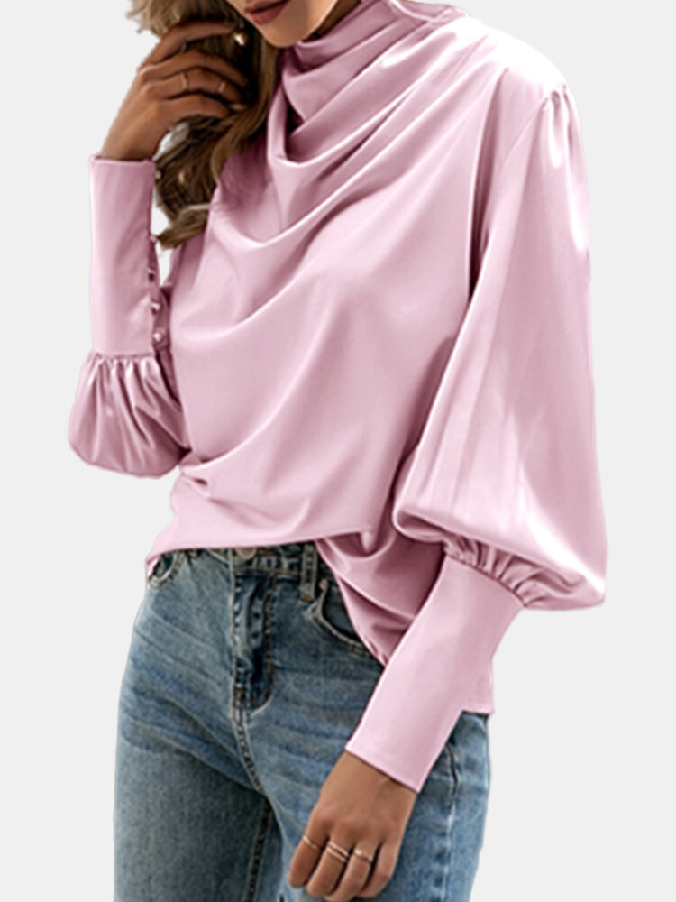 Pile Collar Bubble Sleeve Solid Color Blouse for Women