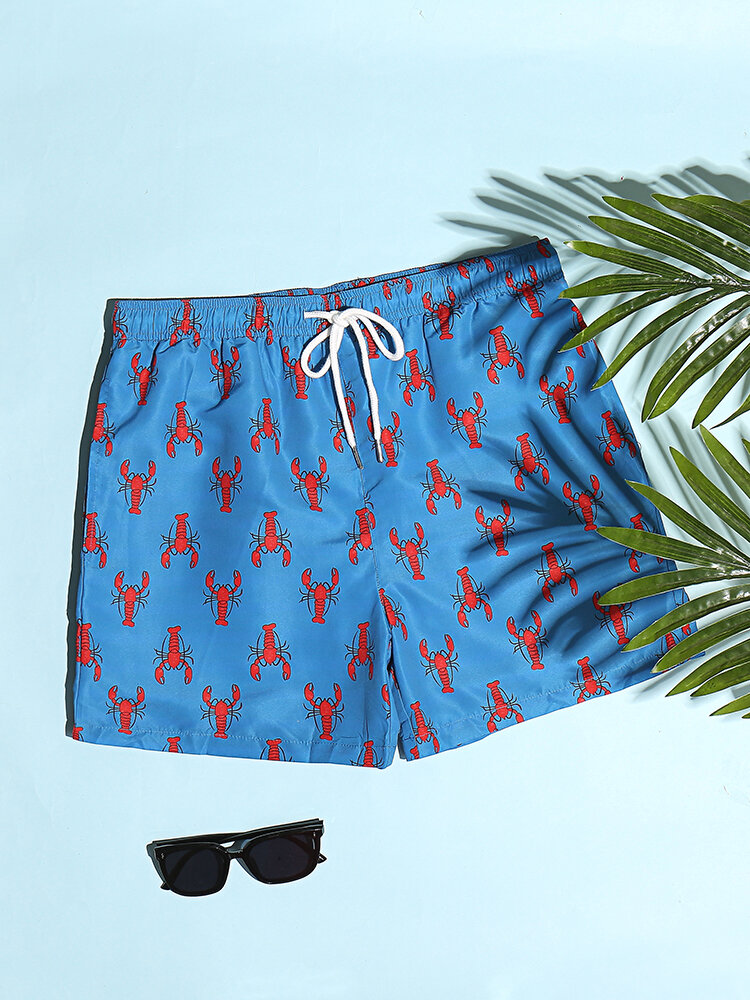 Lobster Pattern Print Shorts Holiday Casual Mid Length Quick Drying Beachwear for Men