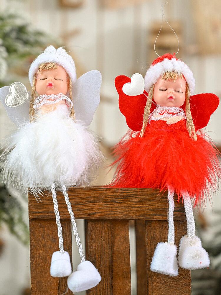 1Pc Christmas Decorations Angel Feather Pendant Plush Wings Sitting Pendant