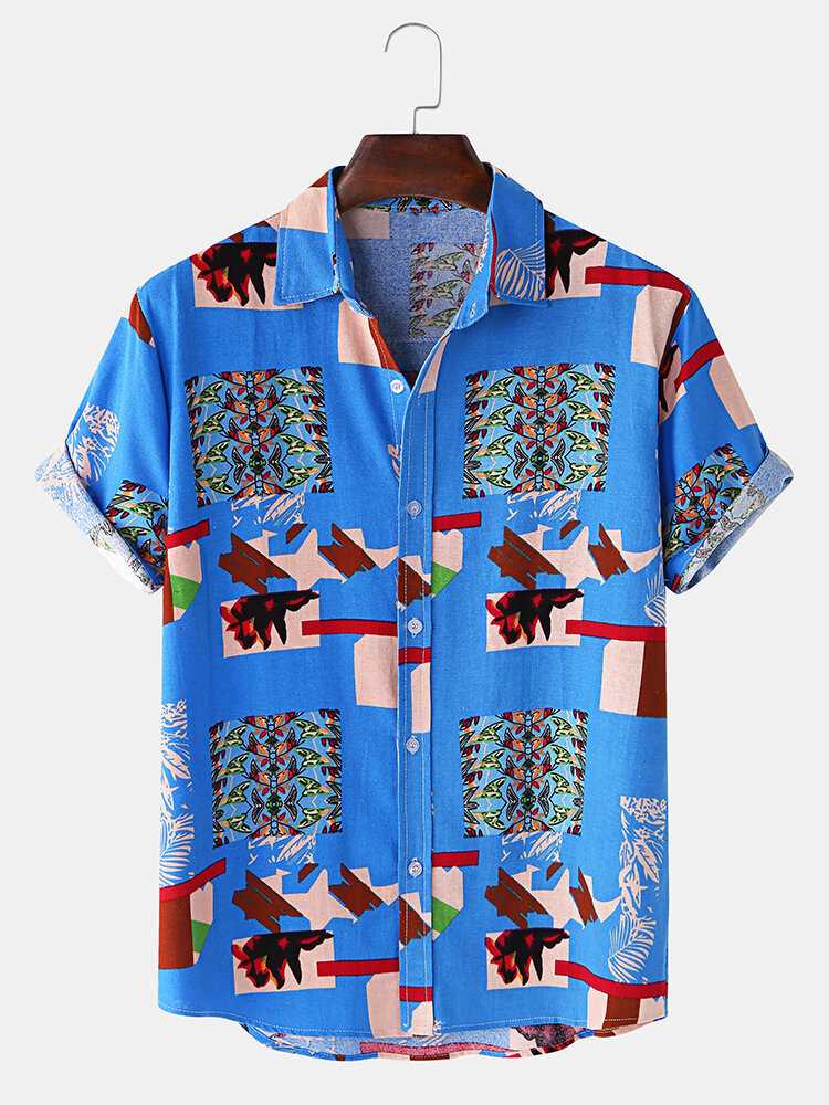 Mens Ethnic Style Pattern Casual Lapel Collar Shirt