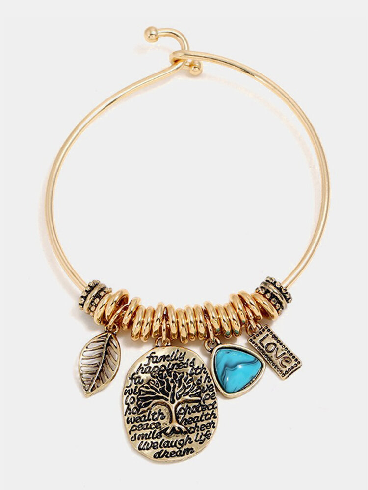 Vintage Dangle Bracelet Leaf Oval Tree Plant Blue Turquoise Charm Bracelets Ethnic Jewelry for Women