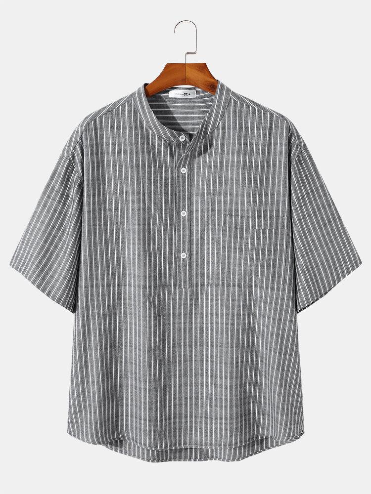 Plus Size Mens Vertical Stripes Short Sleeve Casual Henley Shirt