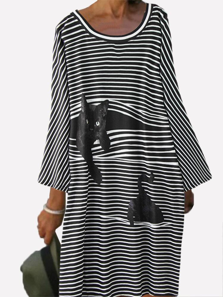 Cat Print Striped Patchwork Long Sleeve Plus Size Dress