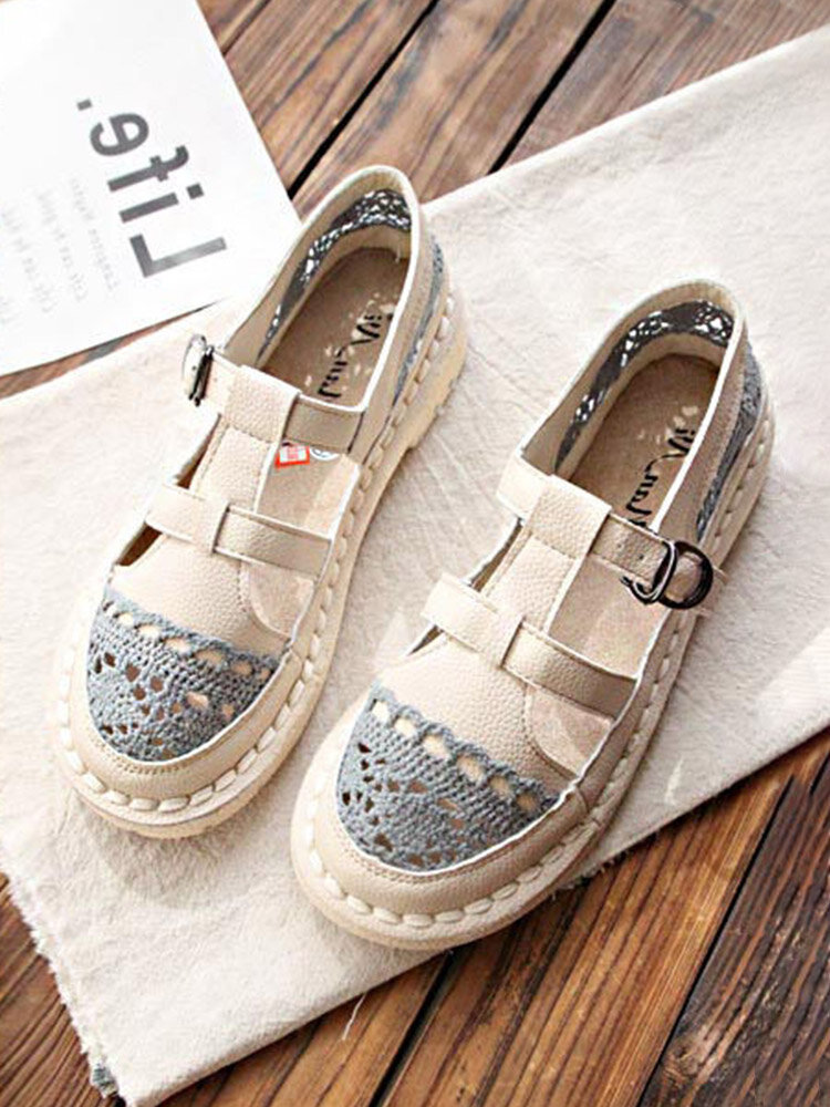 Women Casual Retro Buckle Lace Hollow Out Flats