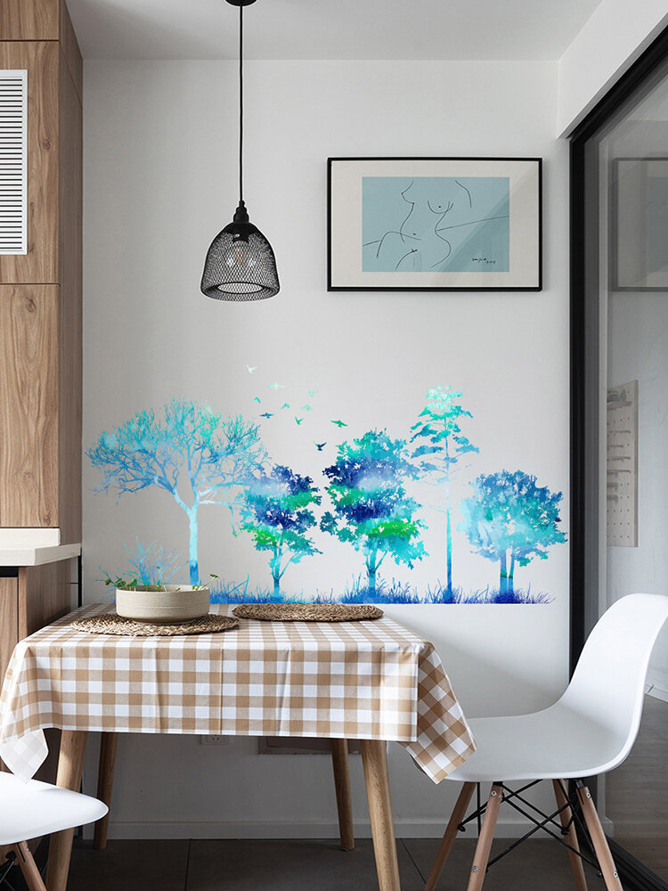 Color Gradient Foldable Forest Tree Pattern Self-adhesive Home Decor Living Room Bedroom Wall Art Wall Stickers