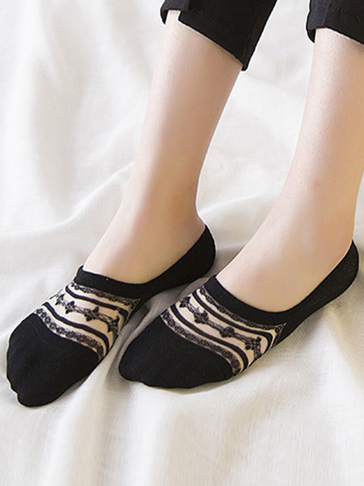Women's Cotton Lace Antiskid Invisible Boat Sock Summer Thin Breathable Socks