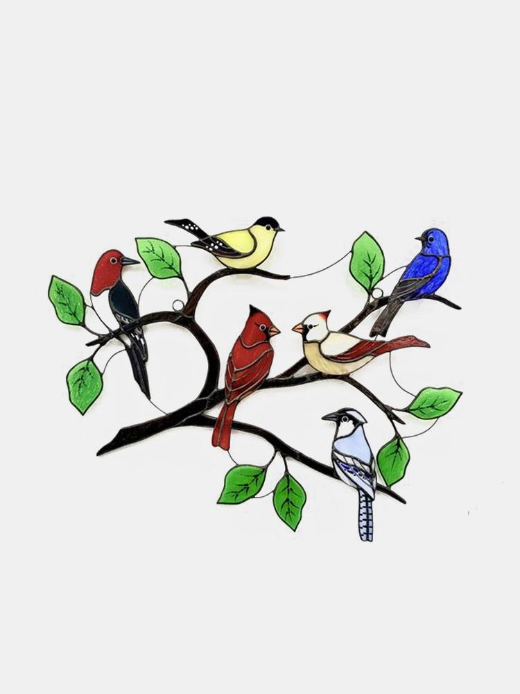 フェスティバルギフト複数の鳥ガラス窓掛け庭サンキャッチャーアクリル合金装飾品ホームパティオ庭の装飾