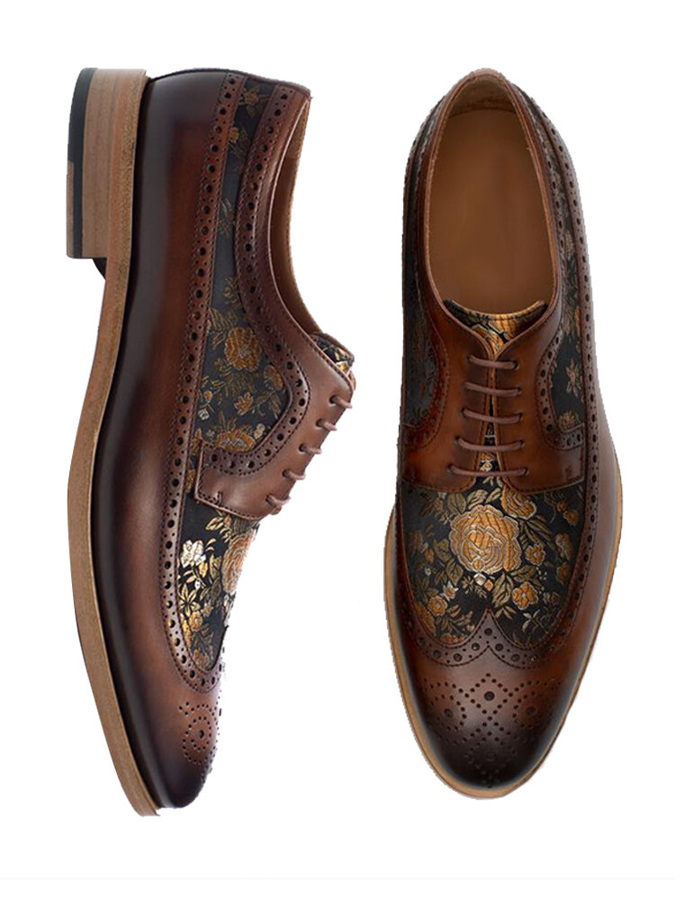 Men Broguo British Style Splicing Printed Lace Up Casual Formal Dress Shoes