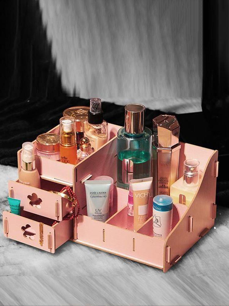 Korea DIY Wooden Makeup Organizer Desktop Storage Box Storage Container