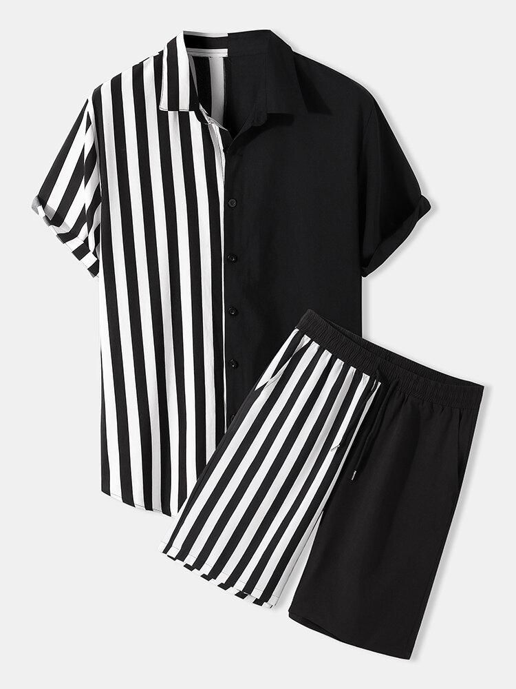 メンズパッチワークストライプポケット巾着半袖ツーピース衣装