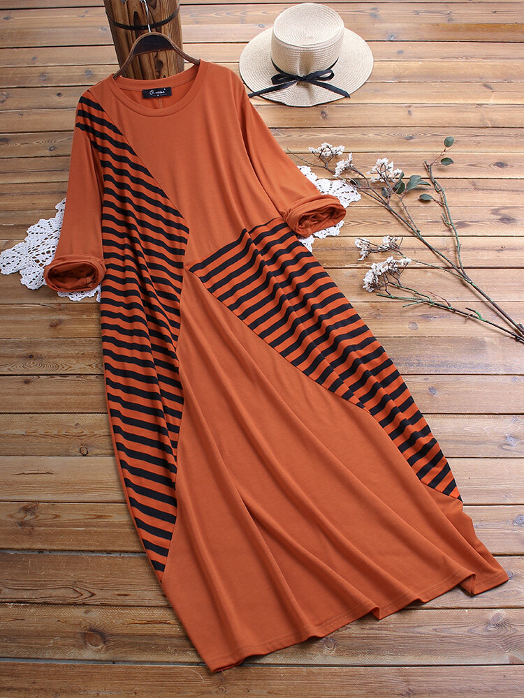 Casual Striped Patchwork Long Sleeve Plus Size Maxi Dress