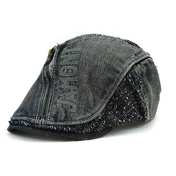Men Women Cotton Denim Zipper Beret Cap UV Protection Sun Visor Flat Peaked Hat