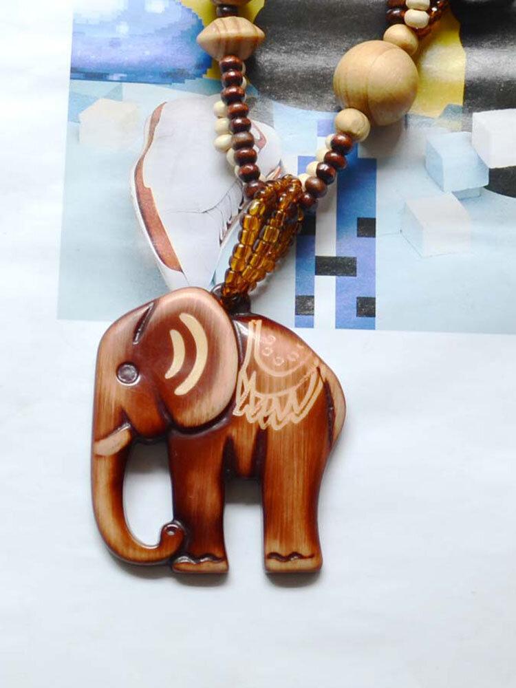 Vintage Pendant Necklace Wood Elephant Round Beaded Charm Necklace Ethnic Jewelry for Women