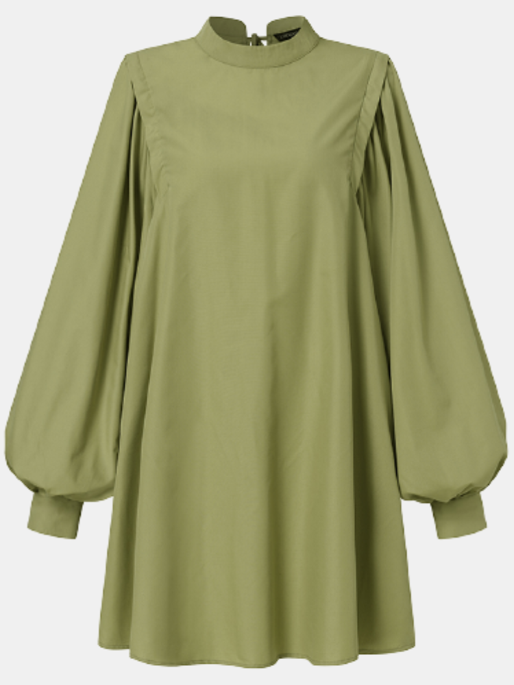 Solid Stand Collar Puff Sleeve Plus Size Knotted Dress