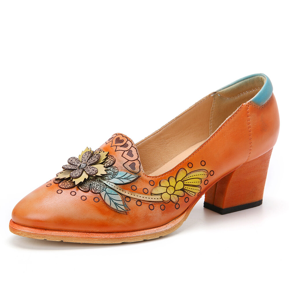 Retro Splicing Floral Highlight Small Flower Leather Slip On Loafers