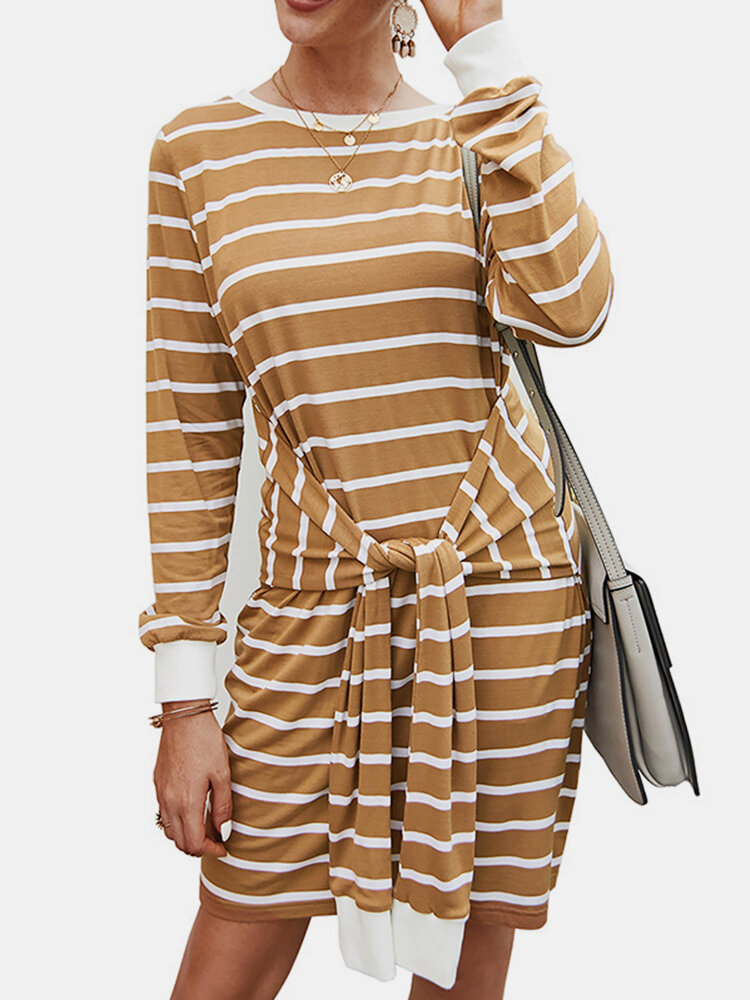 Striped Print Knotted Knitted O-neck Long Sleeve Casual Dress for Women