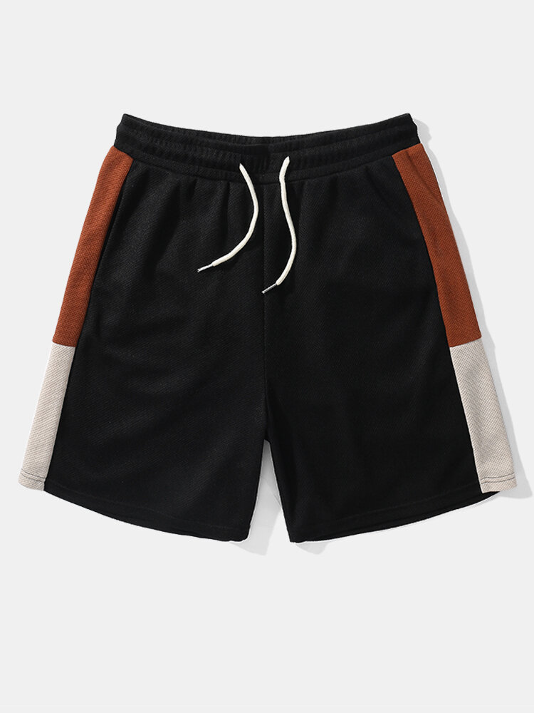 Mens Knitted Side Patchwork Casual Drawstring Shorts