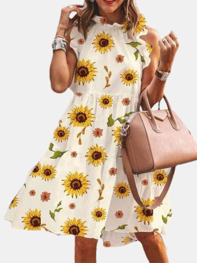 Sleeveless Floral Print Stringy Selvedge Dress For Women