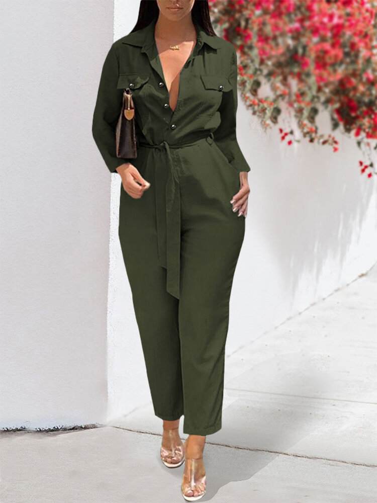 Solid Color Pockets Knotted Casual Jumpsuit For Women, Beige;army green