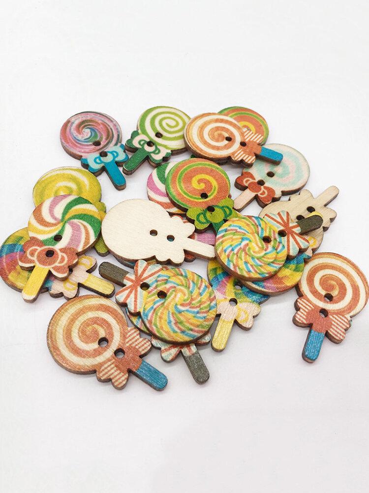 100Pcs Wooden Sewing Buttons Lollipop Multicolor Natural Wood Washable Buttons