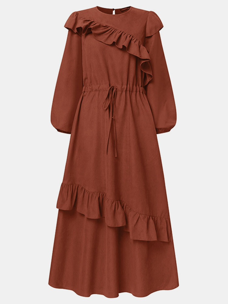 Solid Color Ruffle Knotted Long Sleeve Casual Muslim Dress for Women