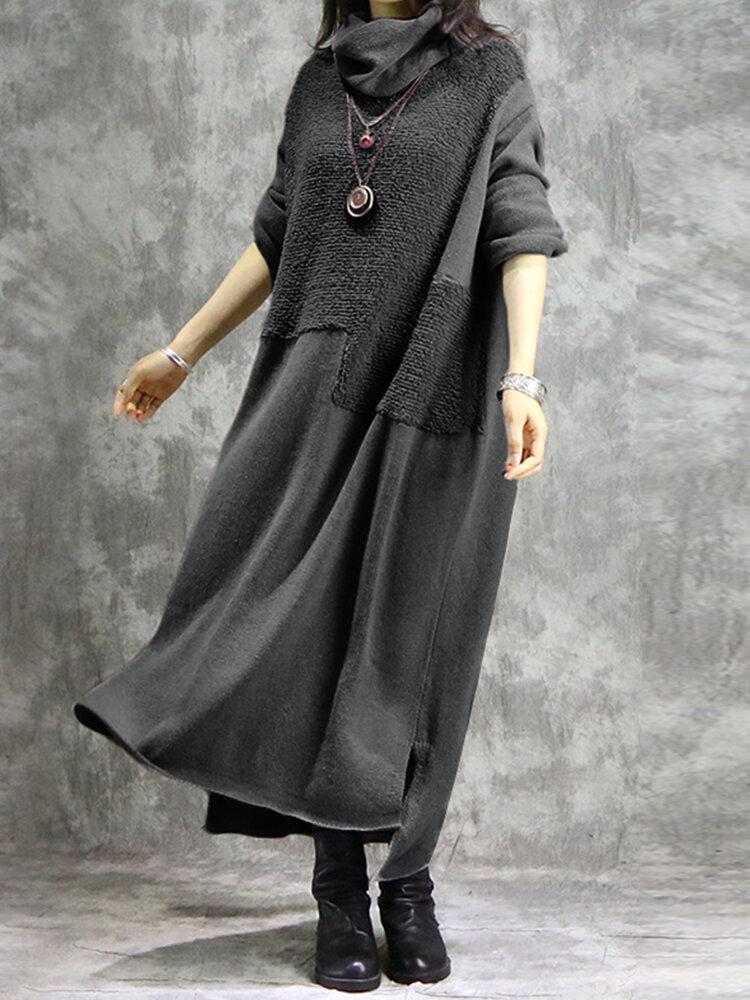 Solid Color Plush Patchwork Turtleneck Long Sleeve Dress