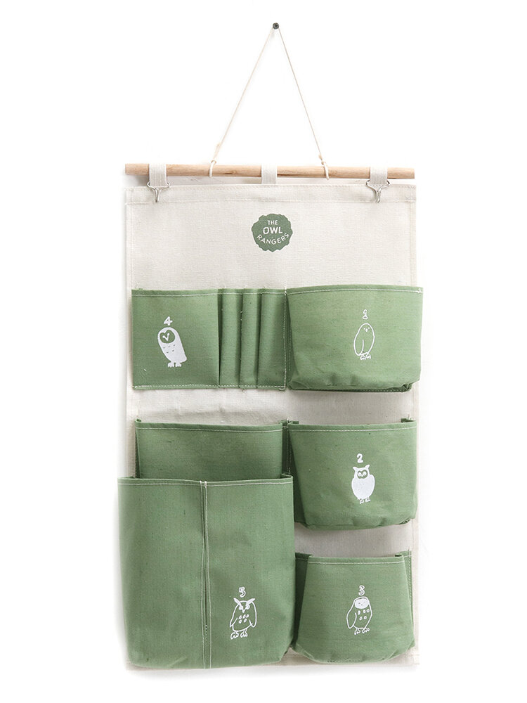Wall Hanging Linen 3 Pocket Simple Style Storage Bag Bedroom Key Sunglasses Organizer
