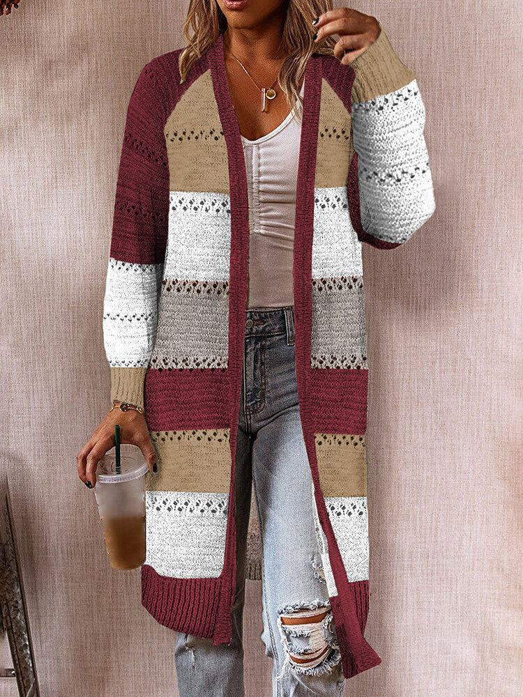Contrast Color Hollow Long Sleeve Casual Cardigan For Women