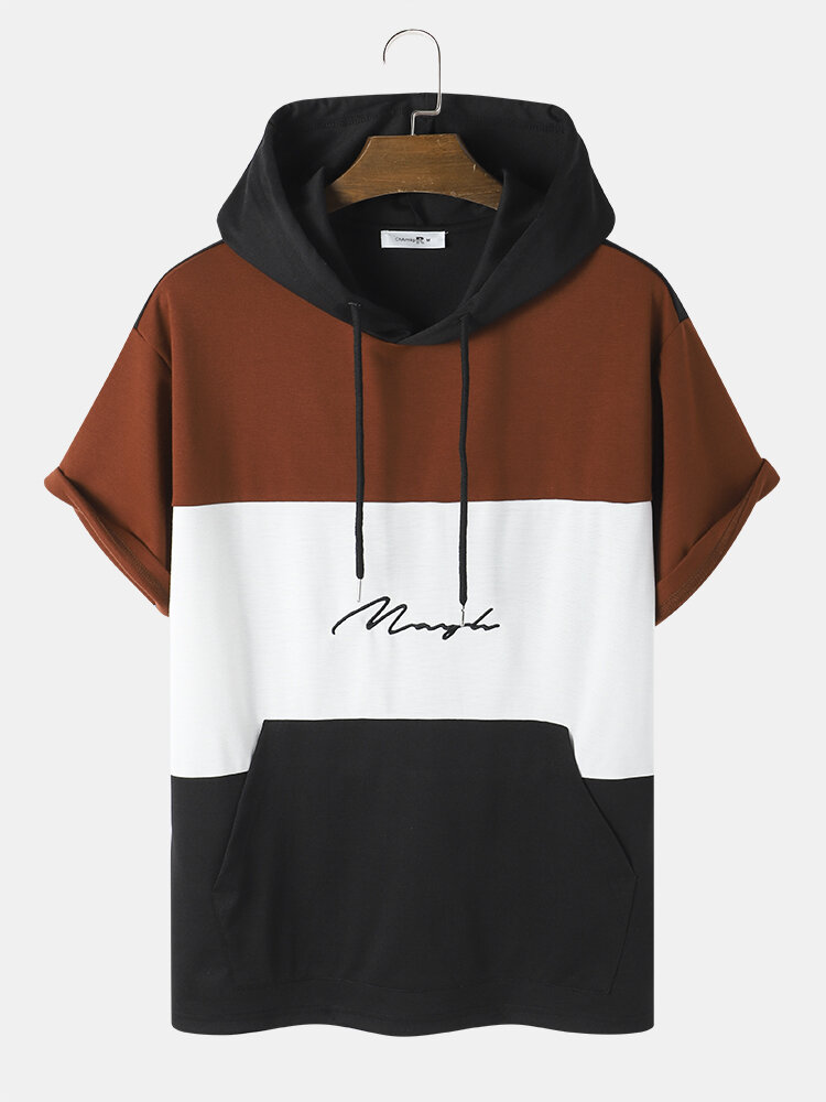 Mens Embroidery Patchwork Kangaroo Pocket Street Hooded T-Shirt