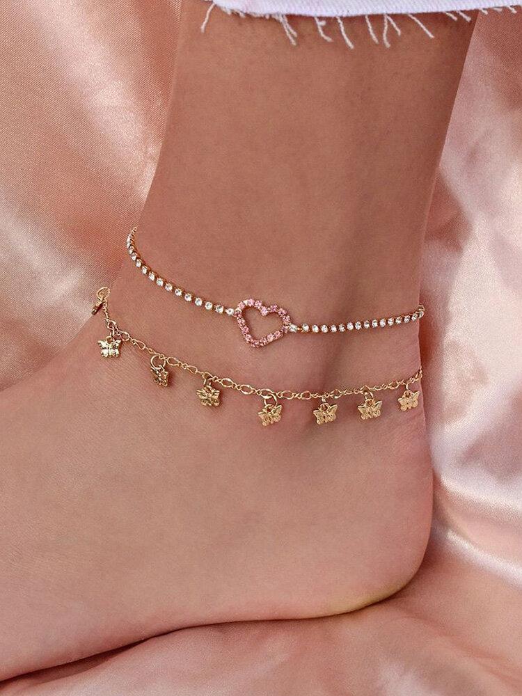 Bohemian Metal Butterfly Tassel Multi-layer Anklet Geometric Peach Heart Rhinestones Pendant Chain Anklet