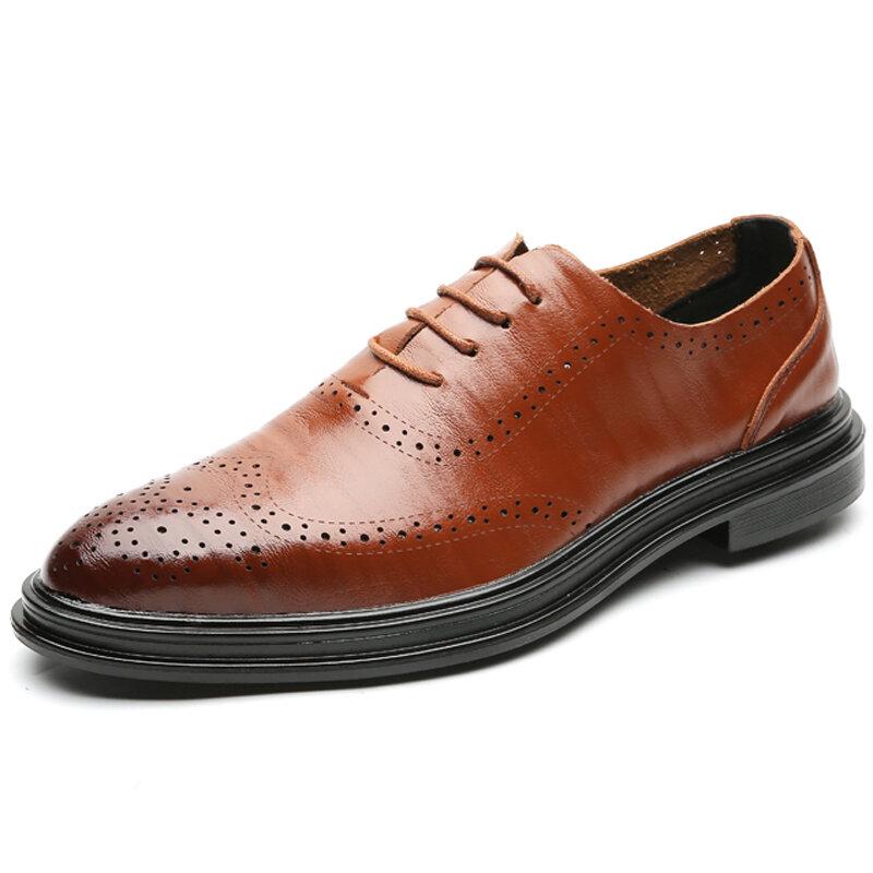 Men Vintage Brogue Oxfords Lace Up Business Formal Shoes