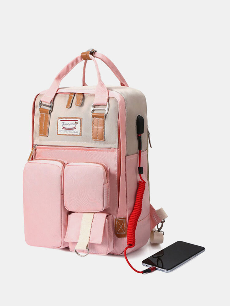 Causal Multi-Pockets Lightweight USB Charging 14 Inch Backpack For Suitcase With Hidden Zipper Pocket