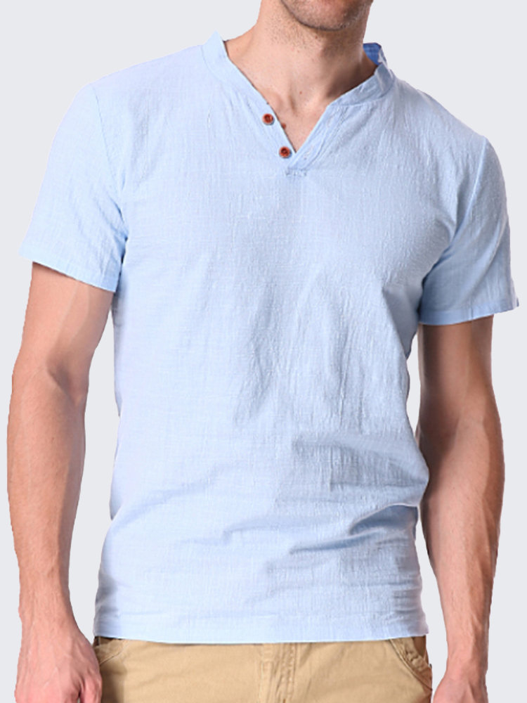 09624bccd Mens Casual Linen V-neck Chinese Collar Short Sleeve T-shirt Fashion Solid  Color Tops on sale-NewChic