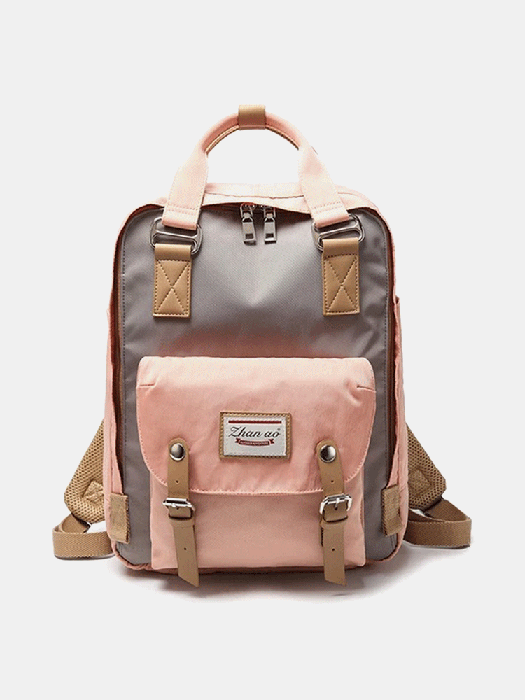 Women Canvas Casual Patchwork Large Capacity Backpack